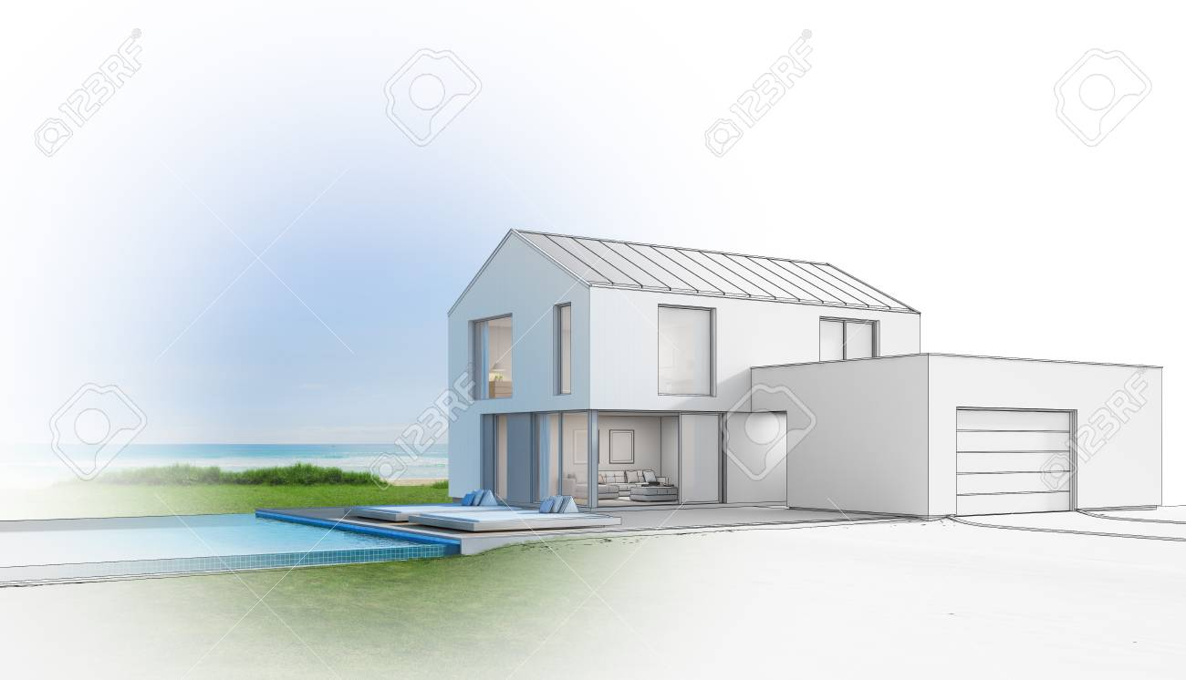 Luxury Beach House With Sea View Swimming Pool, Sketch Design ...