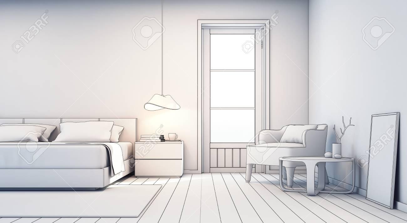 Croquis, Conception, Chambre à Coucher, Salon, Moderne, Maison ...