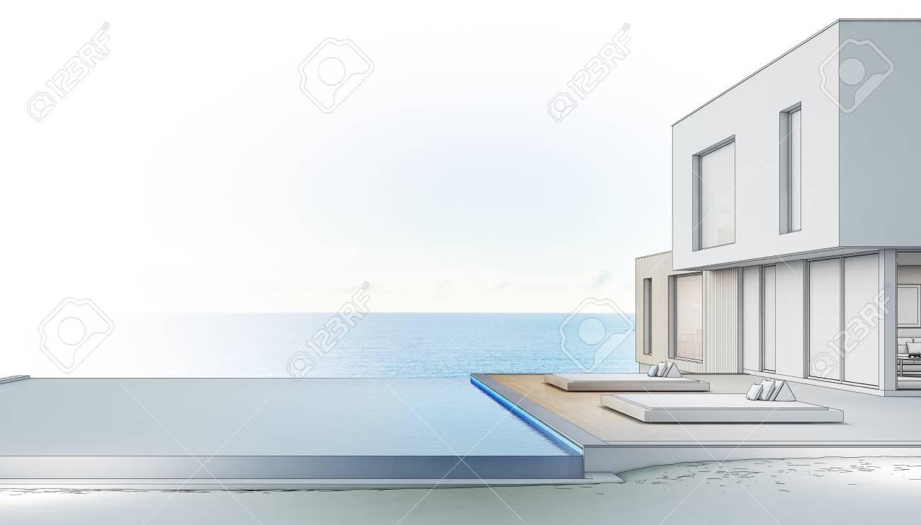 Casa De Playa De Lujo Con Piscina Con Vista Al Mar Y Terraza En Un Diseño Moderno Casa De Vacaciones Para Familia Grande Representación 3d De