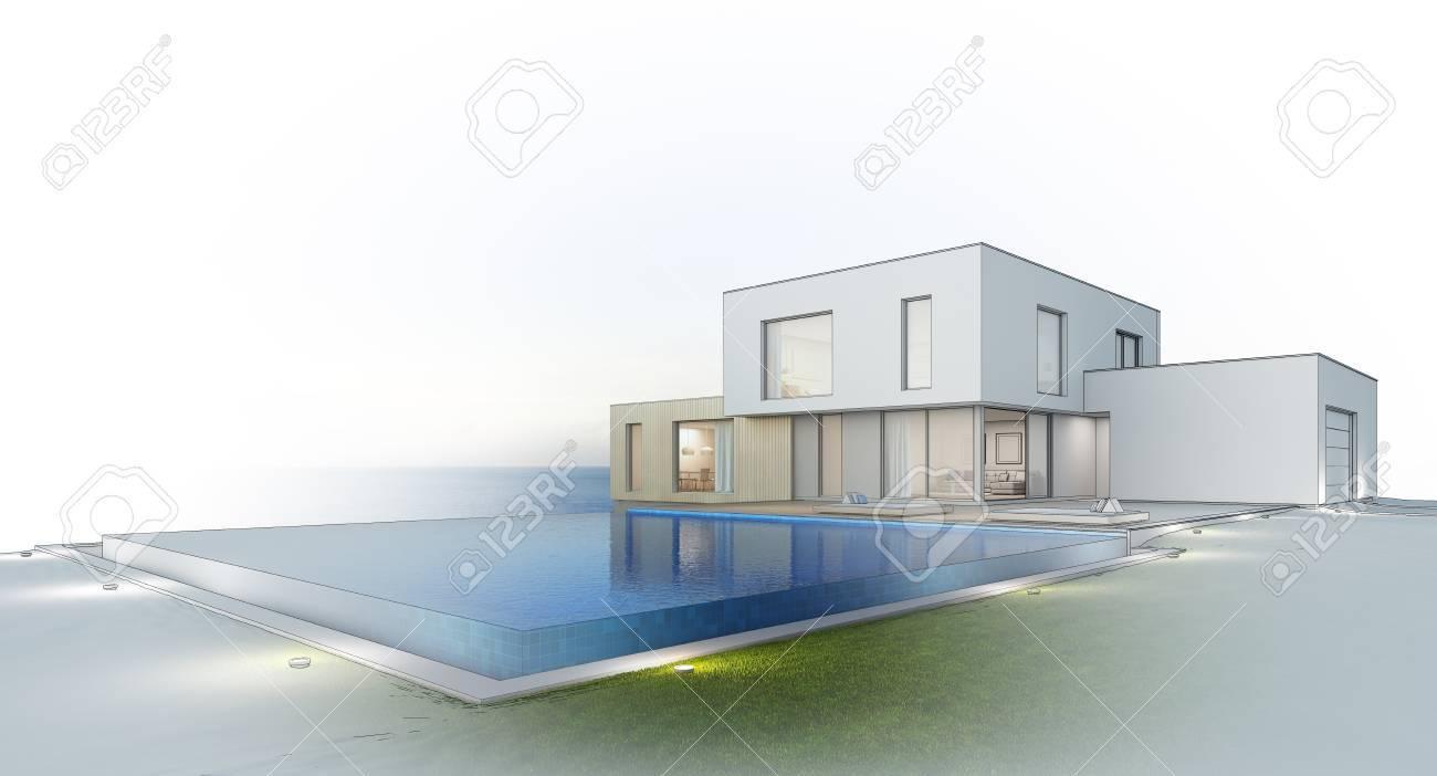 Casa De Playa De Lujo Con Piscina Con Vista Al Mar Y Terraza De Diseño Moderno Casa De Vacaciones Para Una Gran Familia En El Fondo Blanco