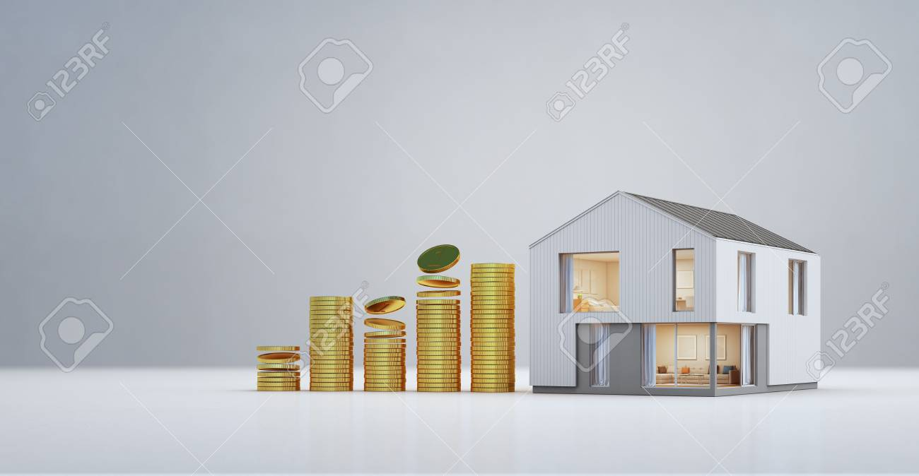 Modern House With Gold Coins In Property Investment And Business ...