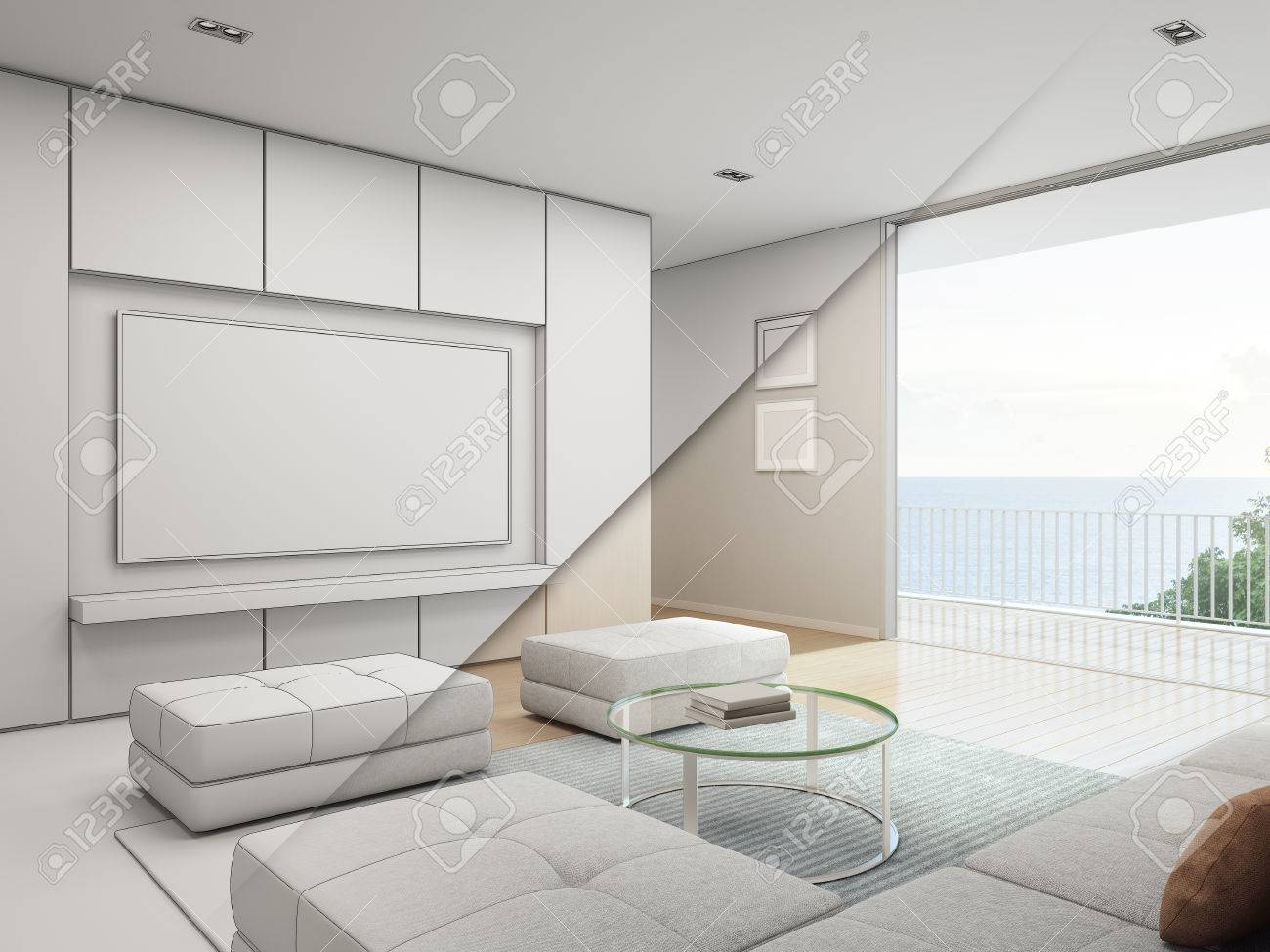 Sea View Living Room With Balcony In Luxury Beach House, Sketch ...