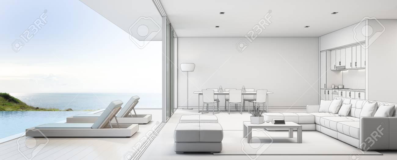 Meerblick küche ess und wohnzimmer von luxus strandhaus mit terrasse in der nähe