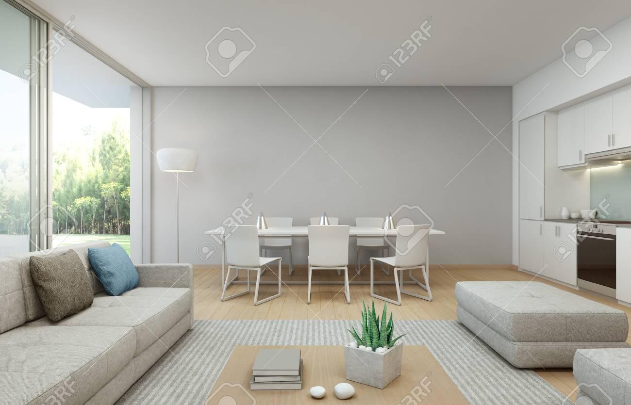 Vista Al Jardín, Cocina, Comedor Y Sala De Estar En La Casa De Lujo ...