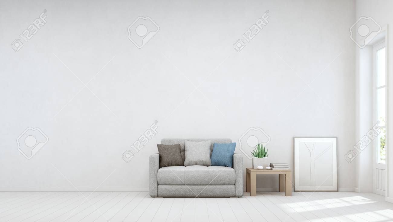 Indoor Plant On Wooden Coffee Table And Small Sofa With Empty ...