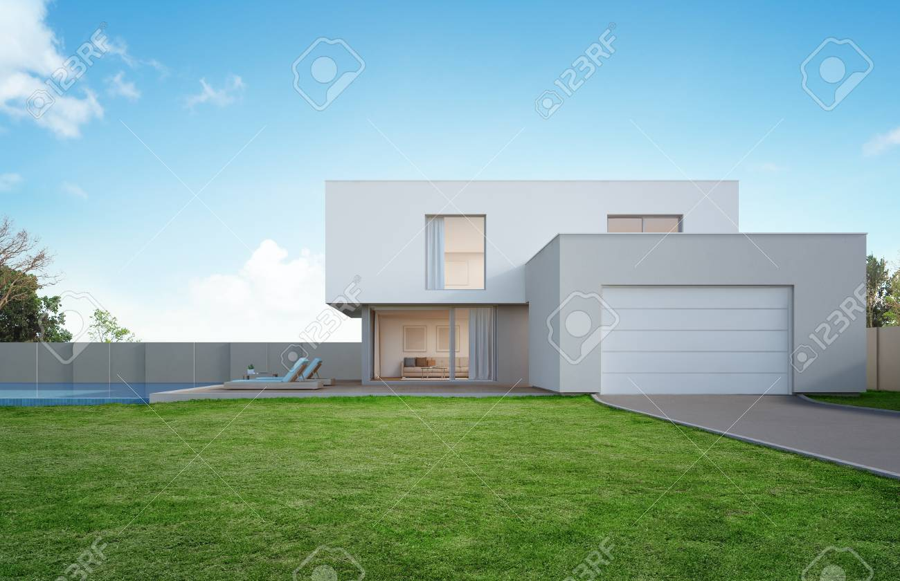 Luxury house with swimming pool and terrace near lawn in modern design, Empty front yard at vacation home or holiday villa for big family - 3d illustration of new residential building exterior - 90253384