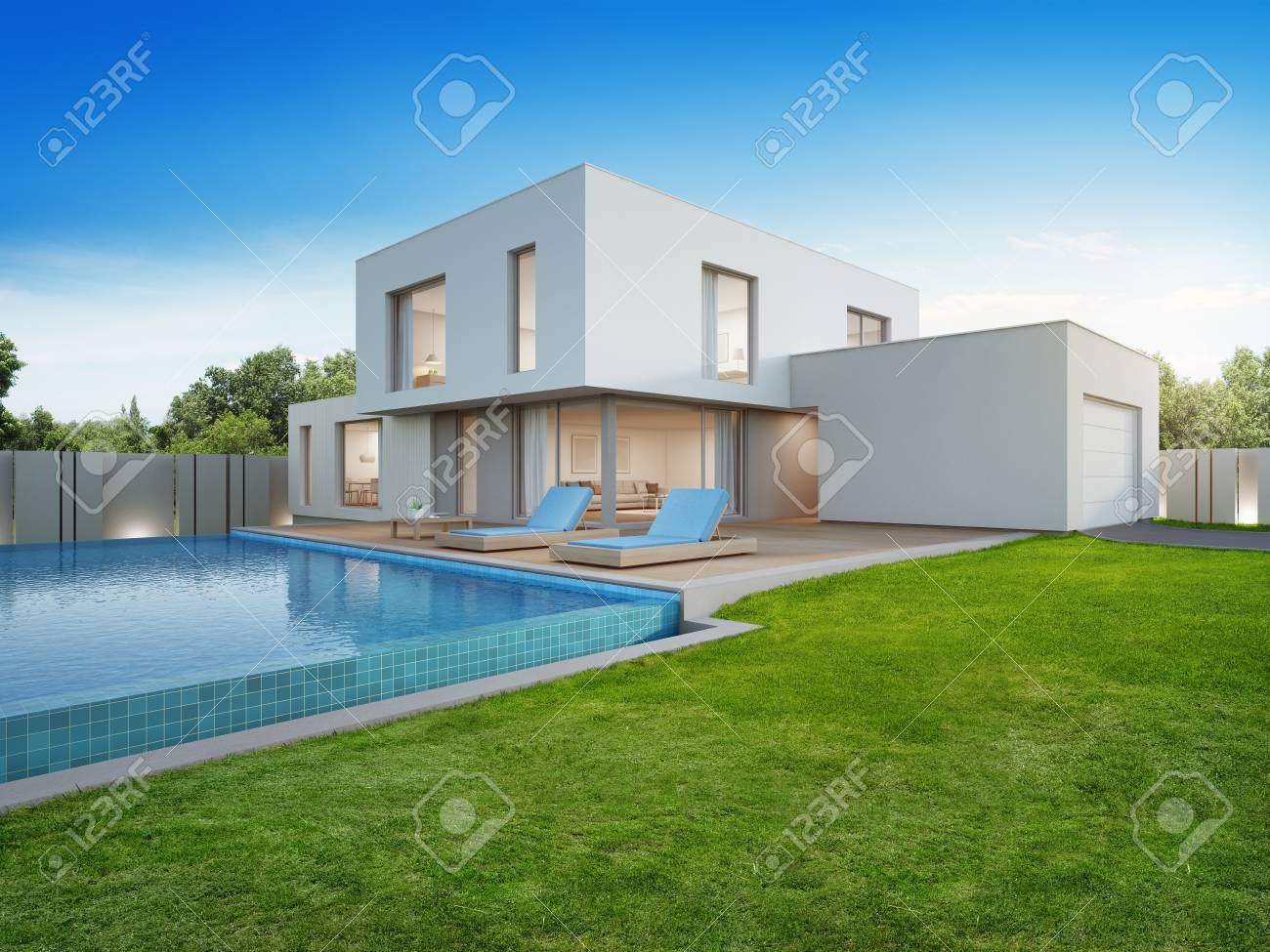 Luxury House With Swimming Pool And Terrace Near Lawn In Modern Stock Photo Picture And Royalty Free Image Image 89824650
