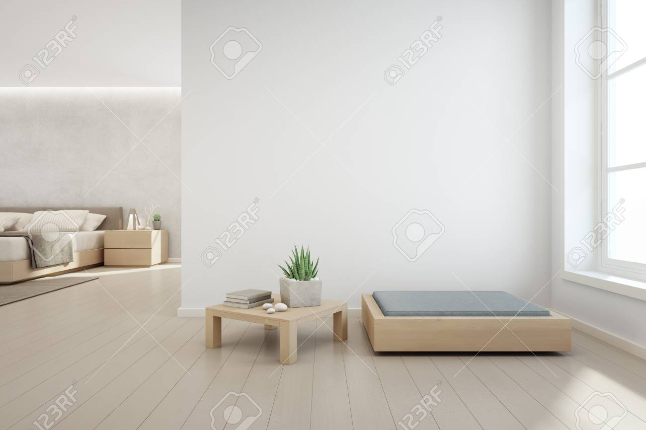 Illustration indoor plant on wooden coffee table and modern furniture with empty white concrete wall background bedroom near living room in scandinavian