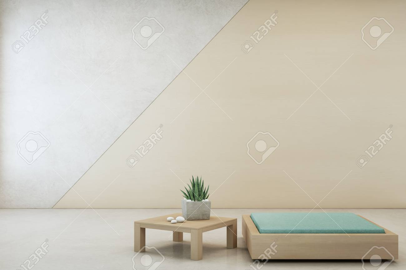 minimal furniture. Illustration - Indoor Plant On Wooden Coffee Table And Minimal Furniture With Empty Concrete Wall Background, Lounge In Living Room Of Modern House Home