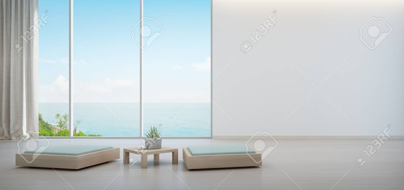 minimal furniture. Illustration - Indoor Plant On Wooden Coffee Table And Minimal Furniture With Empty White Wall Background, Lounge In Sea View Living Room Of Modern Luxury 4