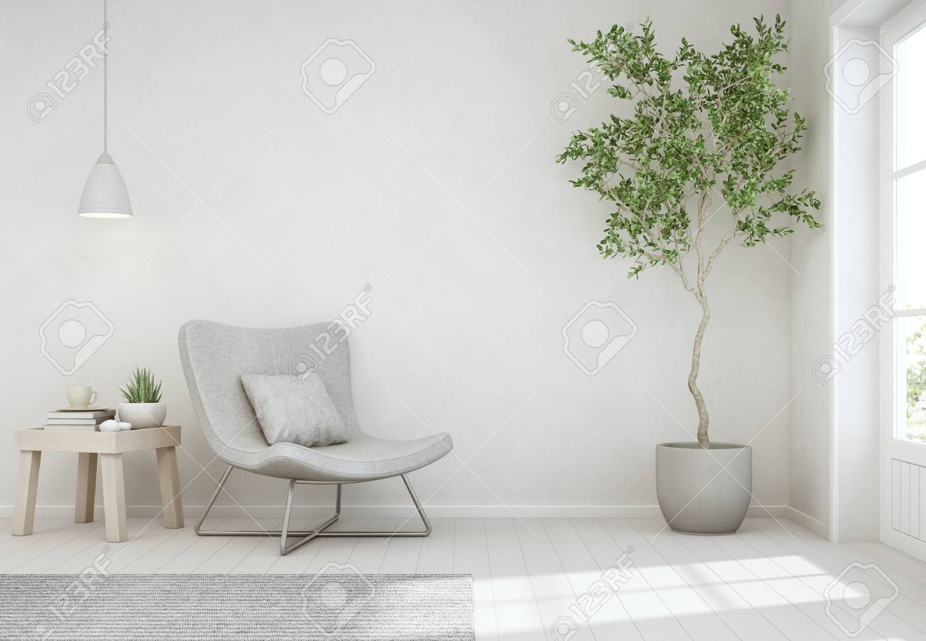 Indoor Plant And Coffee Table On Wooden Floor With Empty White ...