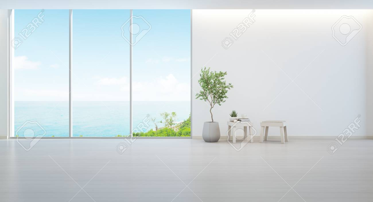 indoor beach furniture. Illustration - Indoor Plant On Wooden Floor And Minimal Furniture With Empty White Wall Background, Lounge In Sea View Living Room Of Modern Luxury Beach R