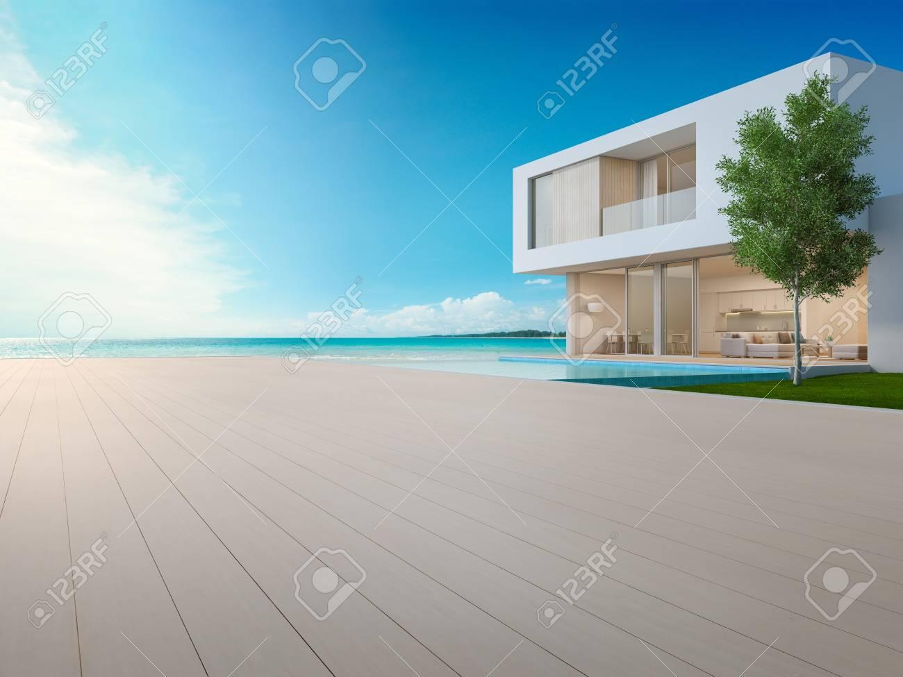 Lujosa Casa De Playa Con Piscina Con Vista Al Mar Y Terraza De Diseño Moderno Cubierta De Piso De Madera Vacía En La Casa De Vacaciones U Hotel