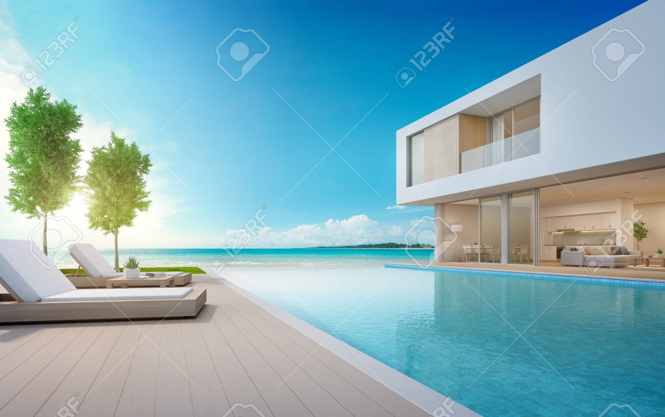 Illustration   Luxury Beach House With Sea View Swimming Pool And Terrace  In Modern Design, Lounge Chairs On Wooden Floor Deck At Vacation Home Or  Hotel ...