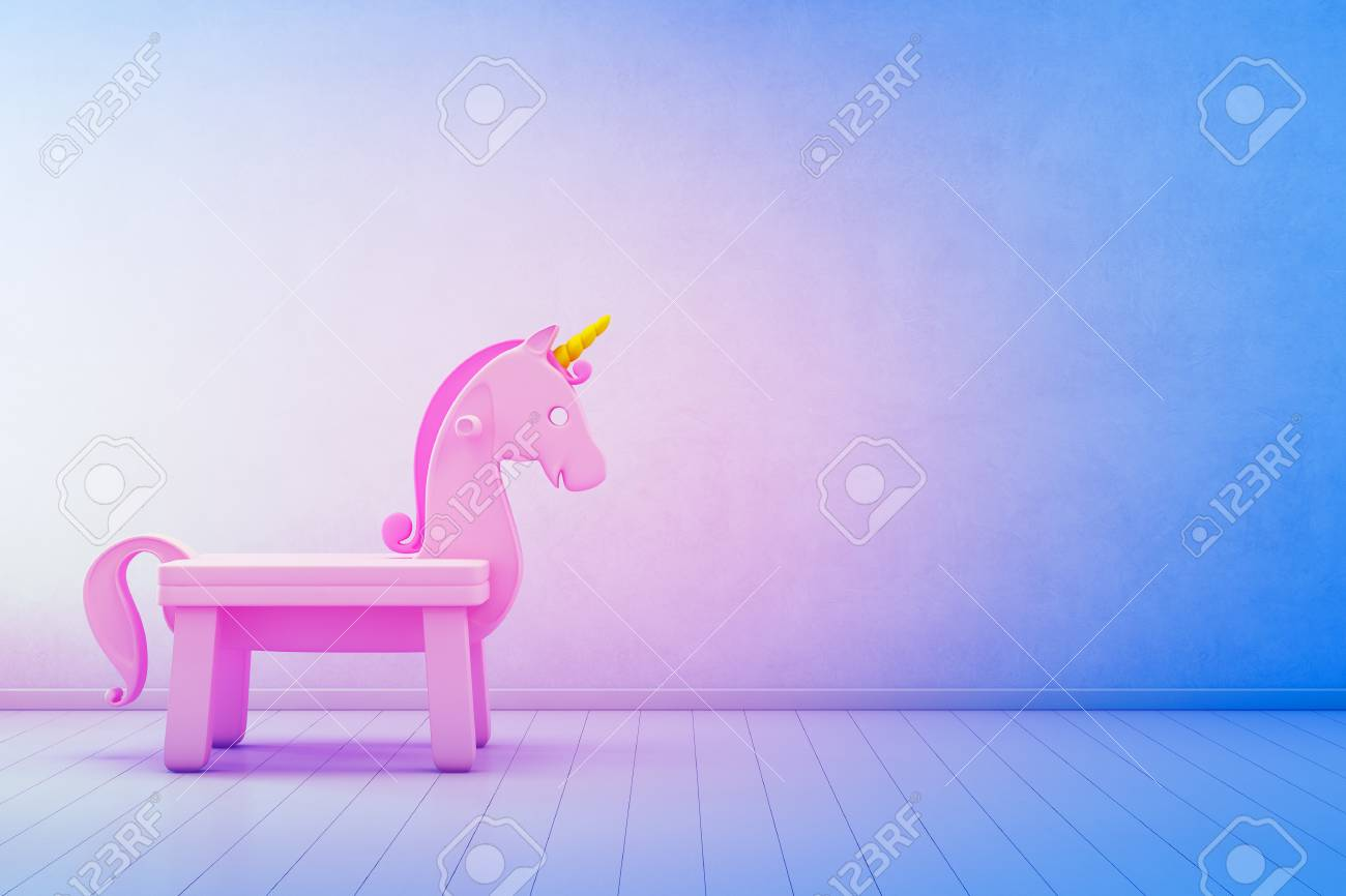 Pink Toy Unicorn On Wooden Floor Of Kids Room With Empty Blue