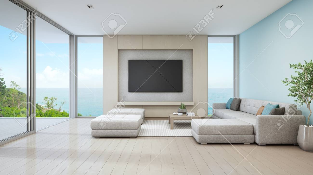 Sea View Living Room Of Luxury Beach House With Glass Door And