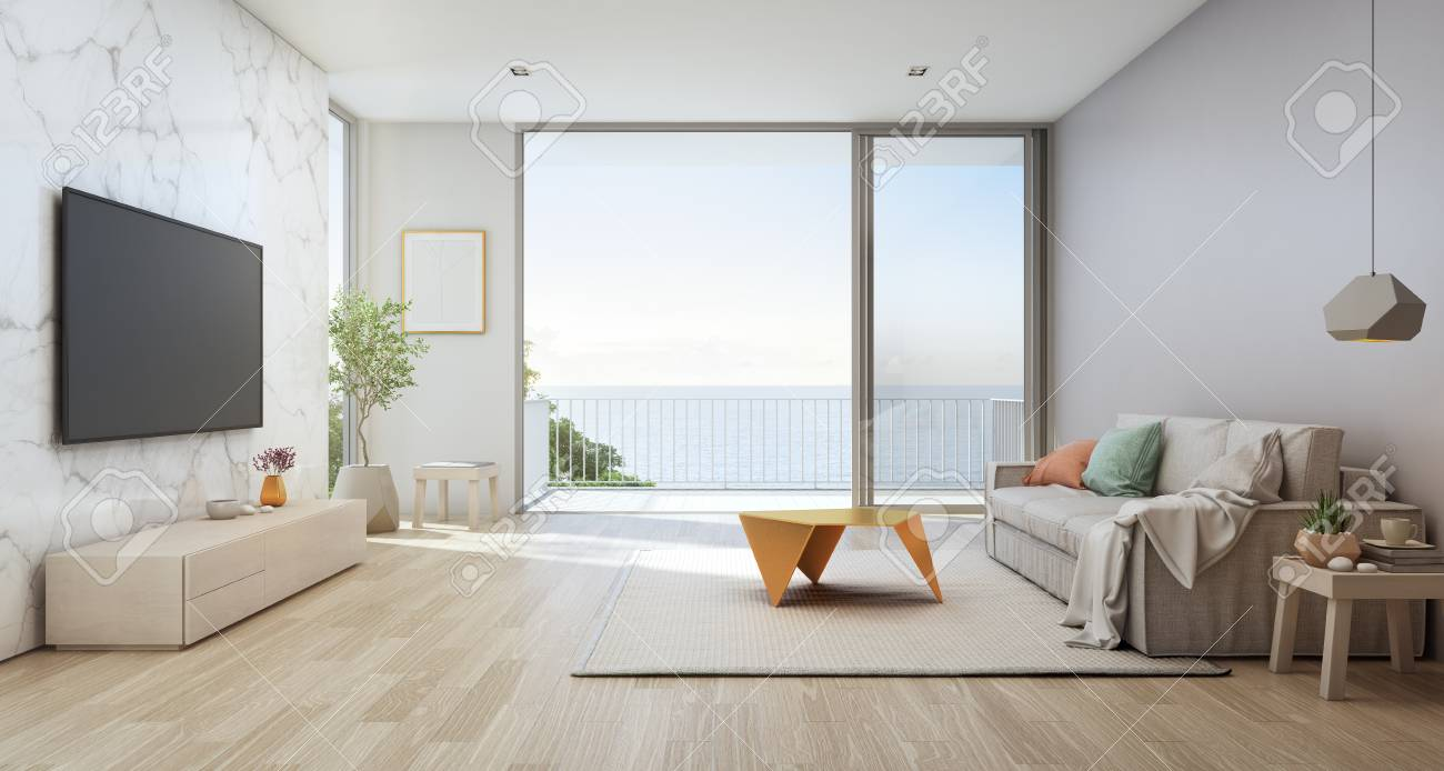 Picture of: Sea View Living Room Of Luxury Beach House With Glass Door And Stock Photo Picture And Royalty Free Image Image 104378623