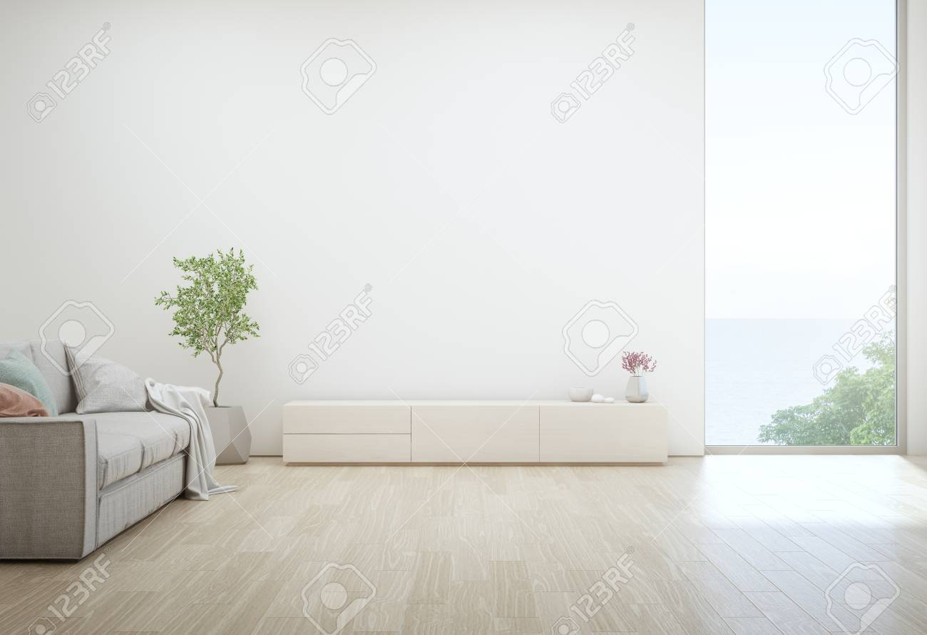 Sea View Living Room Of Luxury Summer Beach House With Tv Stand Stock Photo Picture And Royalty Free Image Image 111021040