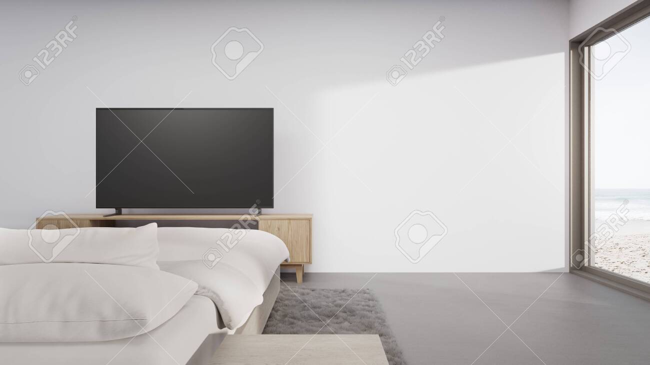 Sea View Bedroom Of Luxury Summer Beach House With Television Stock Photo Picture And Royalty Free Image Image 141851860