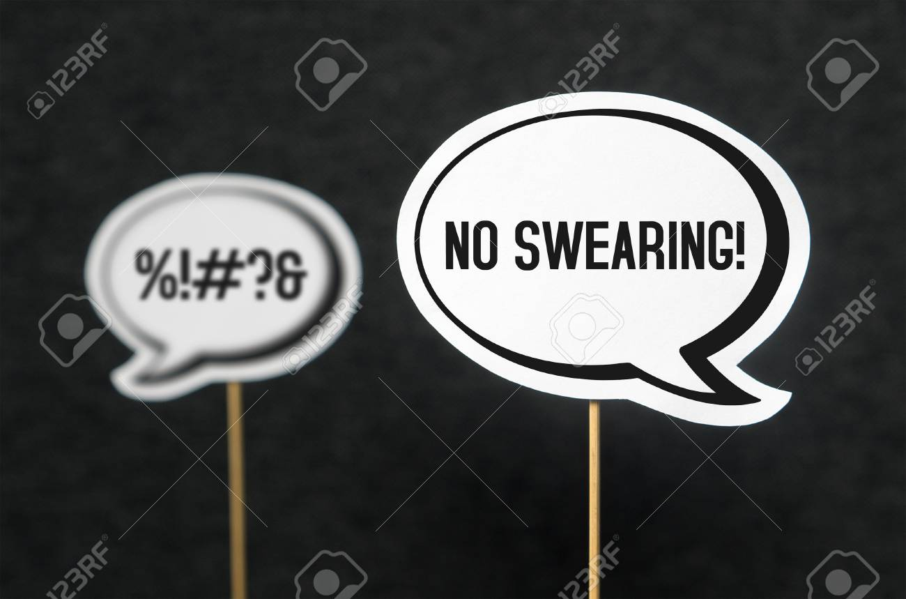 Swearing, cursing and bad language or behaviour in school, work or life. Speech bubble telling the other not to swear. Concept of no dirty words and teaching good manners with speech balloons. - 81015932