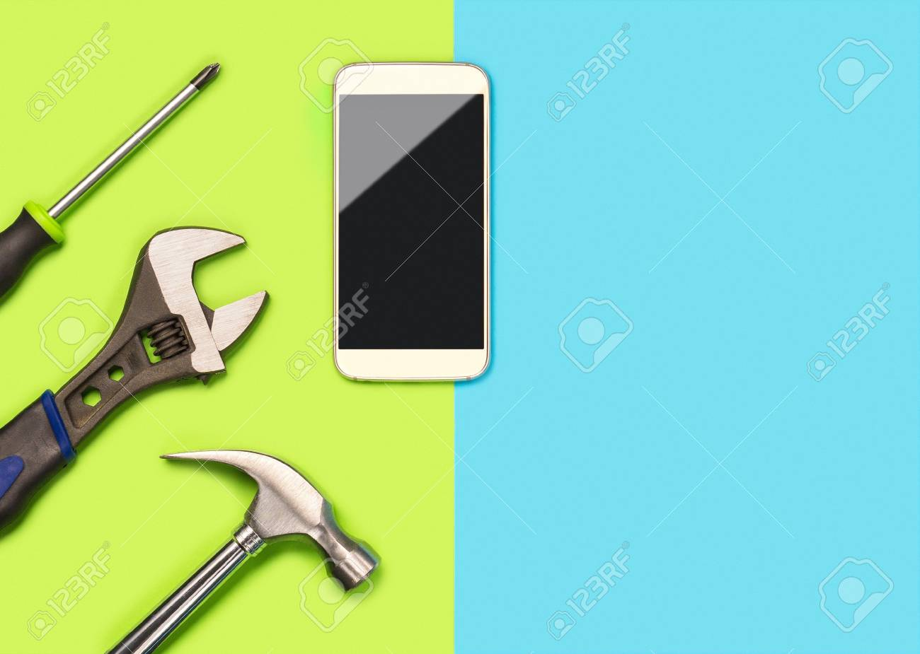 Mobile Phone Repair Background Or Layout For Smartphone Fixing Stock Photo Picture And Royalty Free Image Image 95475020