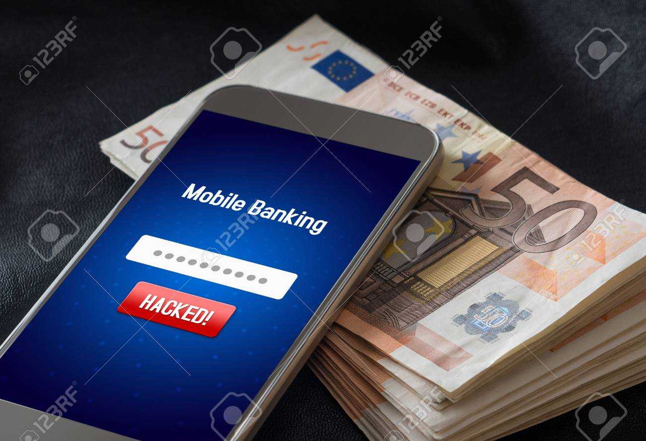 Mobile banking hack and cyber security concept. Hacker and criminal login to persons online bank application and steal money from account. Smartphone and stack of money and 50 euro bills. - 95476409