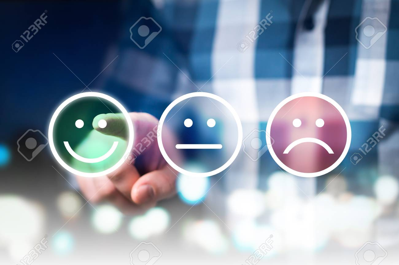 Business man giving rating and review with happy, neutral or sad face icons. Customer satisfaction and service quality survey. Modern abstract feedback concept. - 95967500