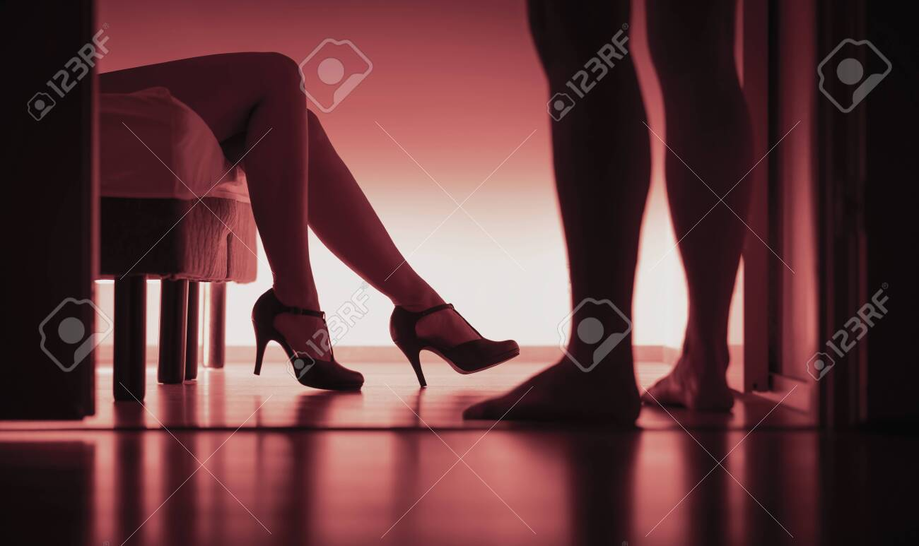Escort, paid or prostitution. Sexy woman and man silhouette in bedroom. Rape or harassment concept. Girl passed out on bed with high heels in party. Sugar daddy or customer with prostitute. - 141630845