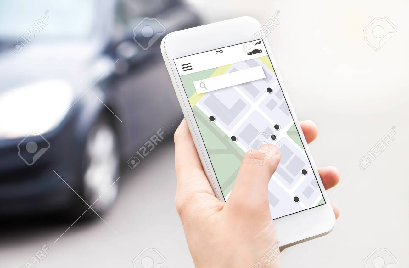 Car or ride share mobile app in smartphone. Carsharing, ridesharing or carpool service. Sharing economy concept. Person ordering taxi online with phone. Map location in screen. Automobile rent system. - 141179668
