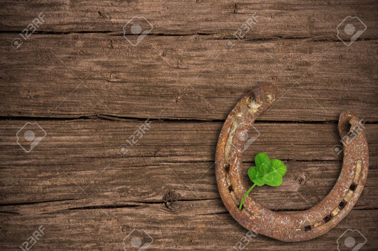 Blackboard with four-leaved clover and a horse shoe - 25720391