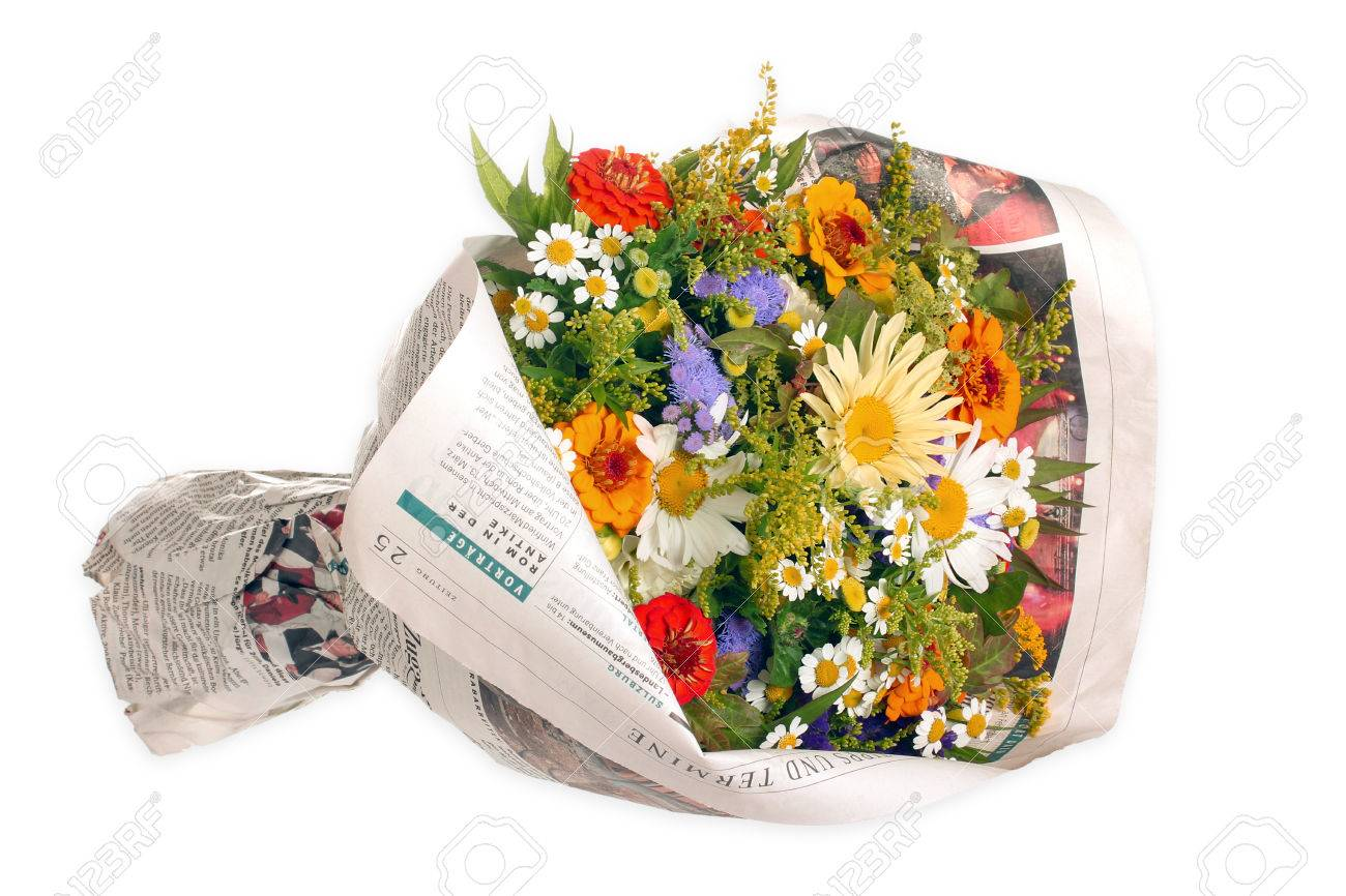 Bouquet Of Flowers In A Newspaper Stock Photo, Picture And Royalty ...