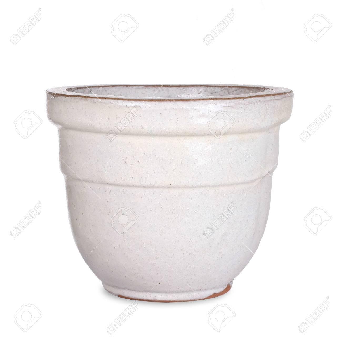 Pottery, white flower pot - 35801974
