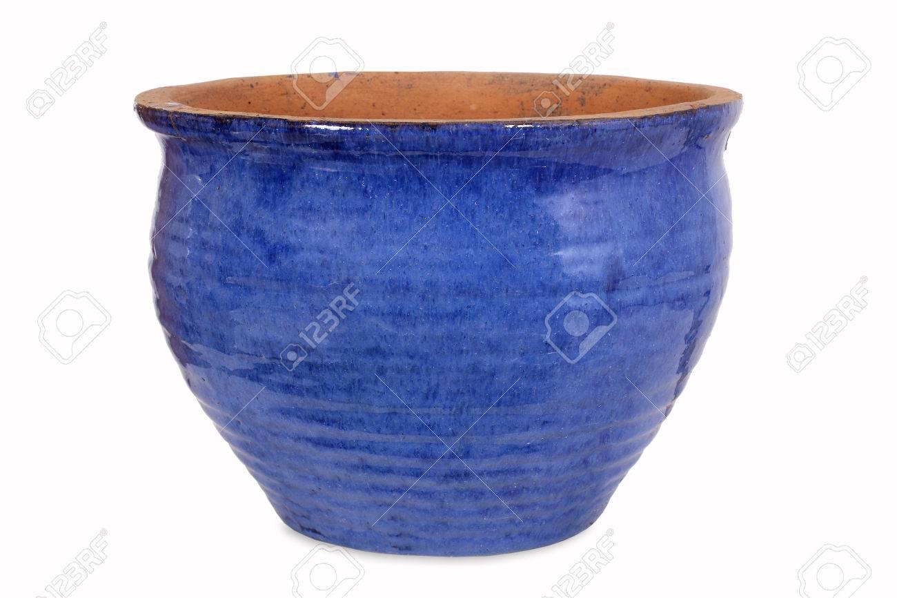 Blue pottery flower pot - 35801982