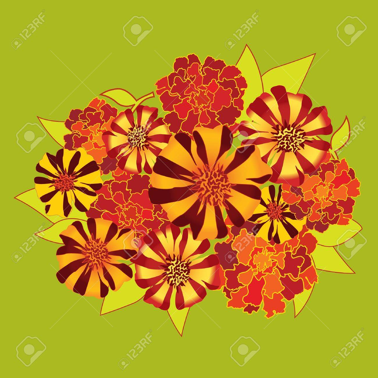 Flower bouquet with red and yellow flowers velvet ribbon royalty flower bouquet with red and yellow flowers velvet ribbon stock vector 16139984 mightylinksfo