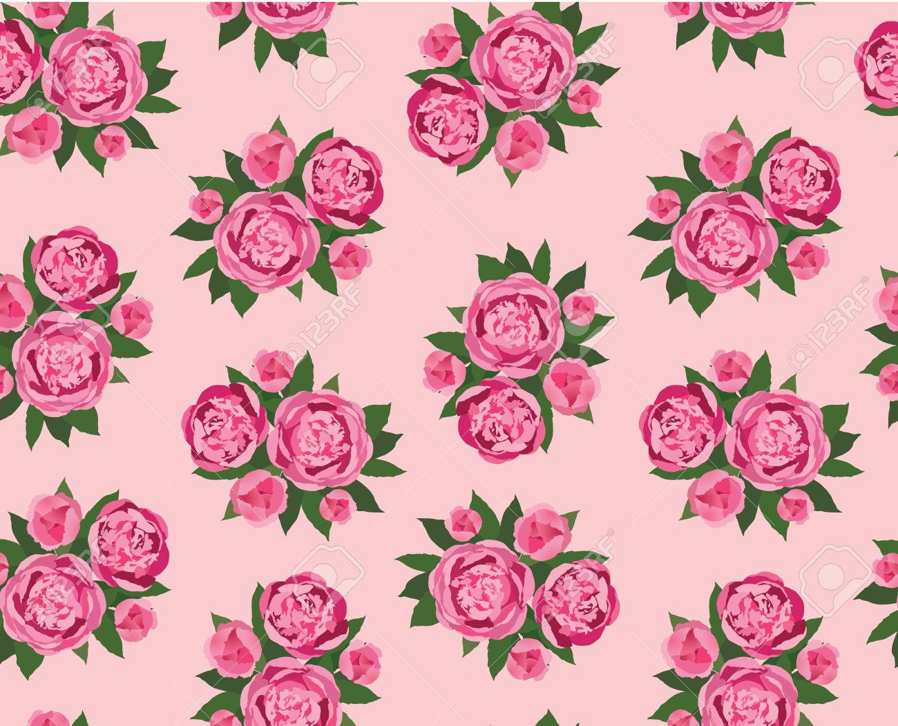 Pink floral seamless vector background floral hrysanthemum seamless - Floral Seamless Pattern Pink Flower Peony Background Stock Vector 16140108