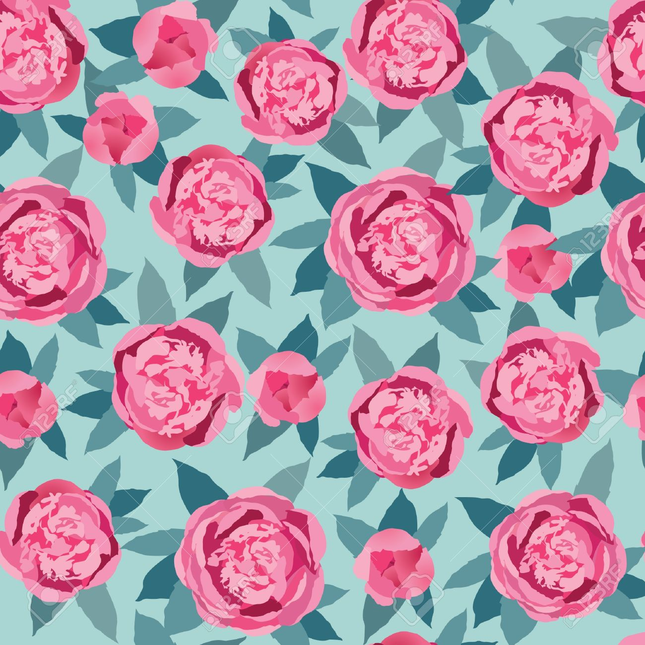 Floral Seamless Pattern Crimson And Pink Flower Background Royalty