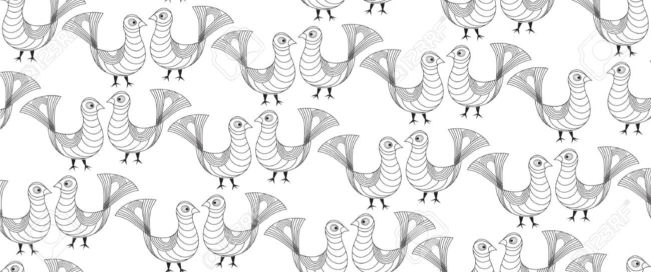seamless pattern from birds in ethnic naitive style Stock Vector - 16227908