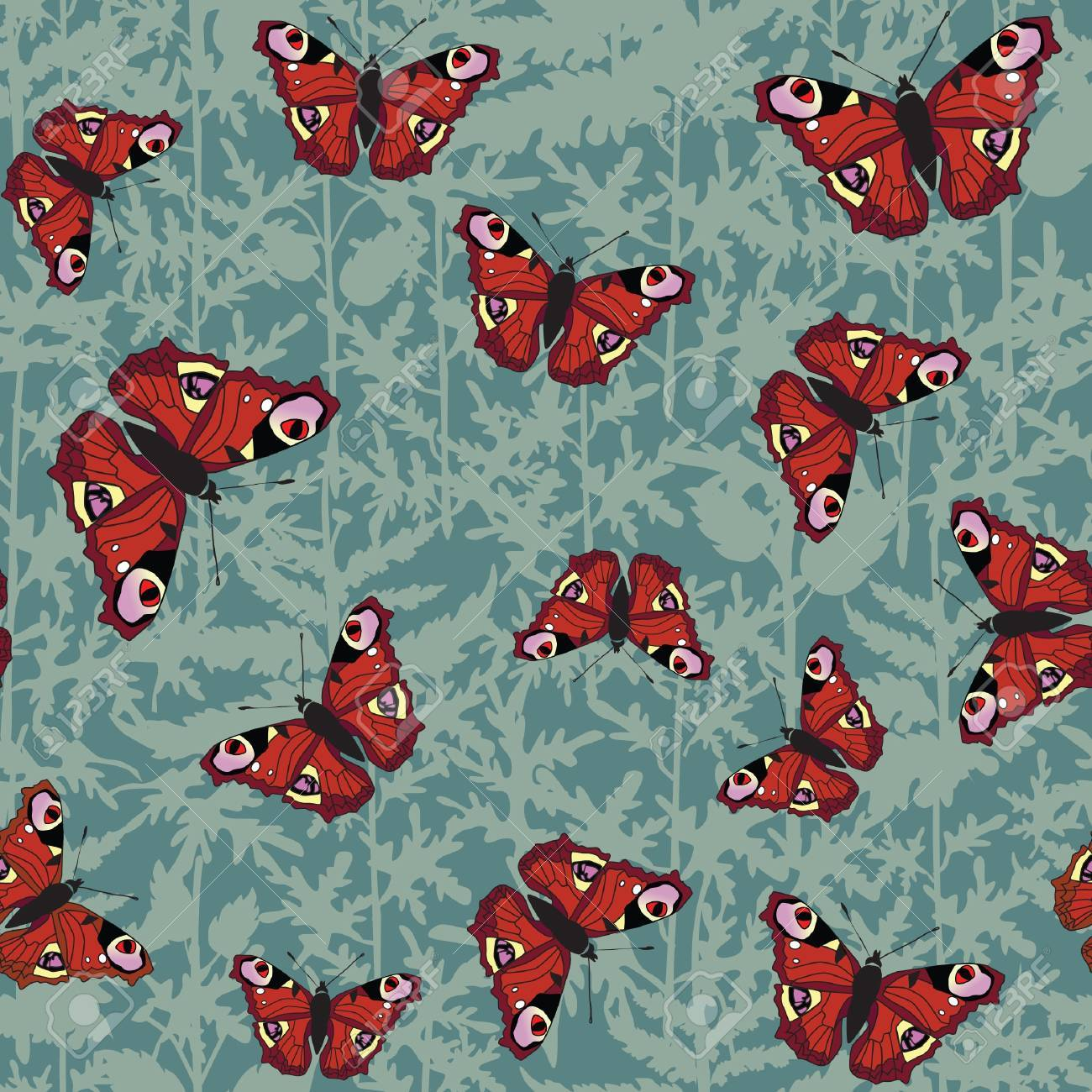 seamless pattern background with colour butterflies Stock Vector - 16228791