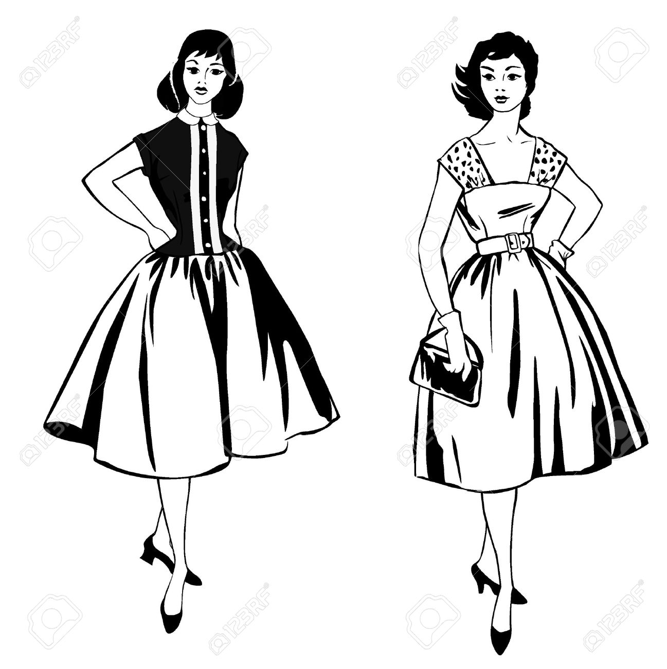 Stylish fashion dressed girls  1950 s 1960 s style   Retro fashion party  vintage fashion silhouettes from 60s Stock Vector - 16423850