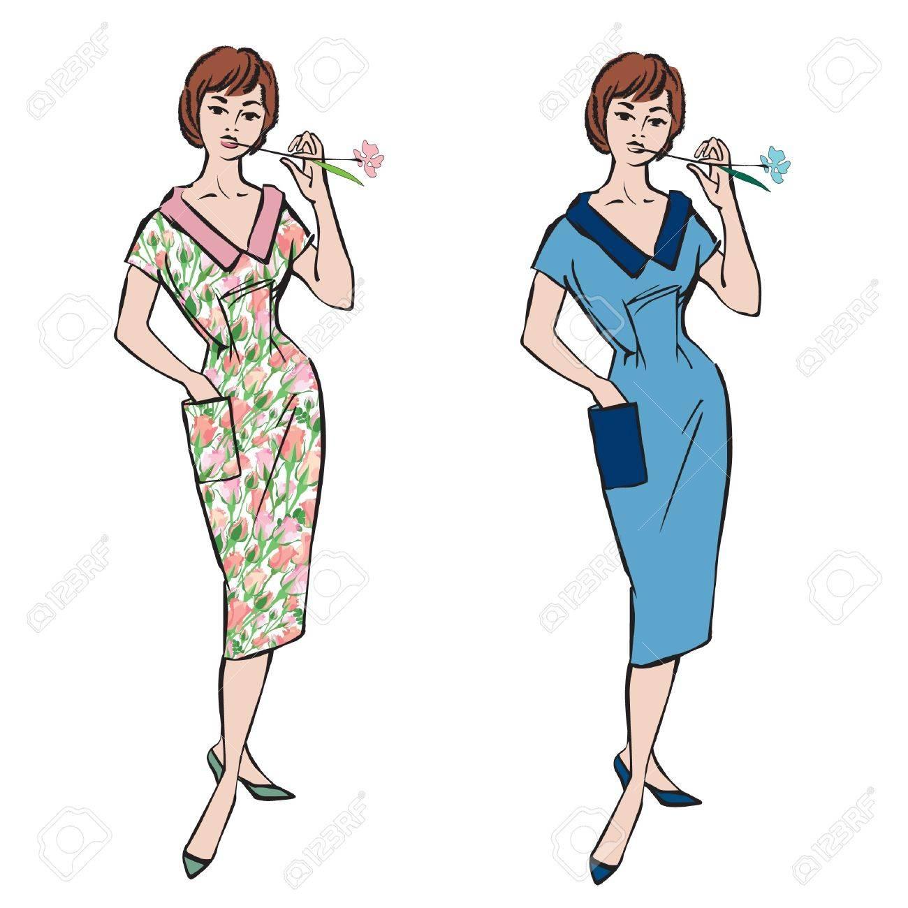 outlet store ebbfe 71a28 Moda elegante vestito ragazza di 1950 s 1960 s stile retrò moda fashion  party sagome d'epoca anni '60 da