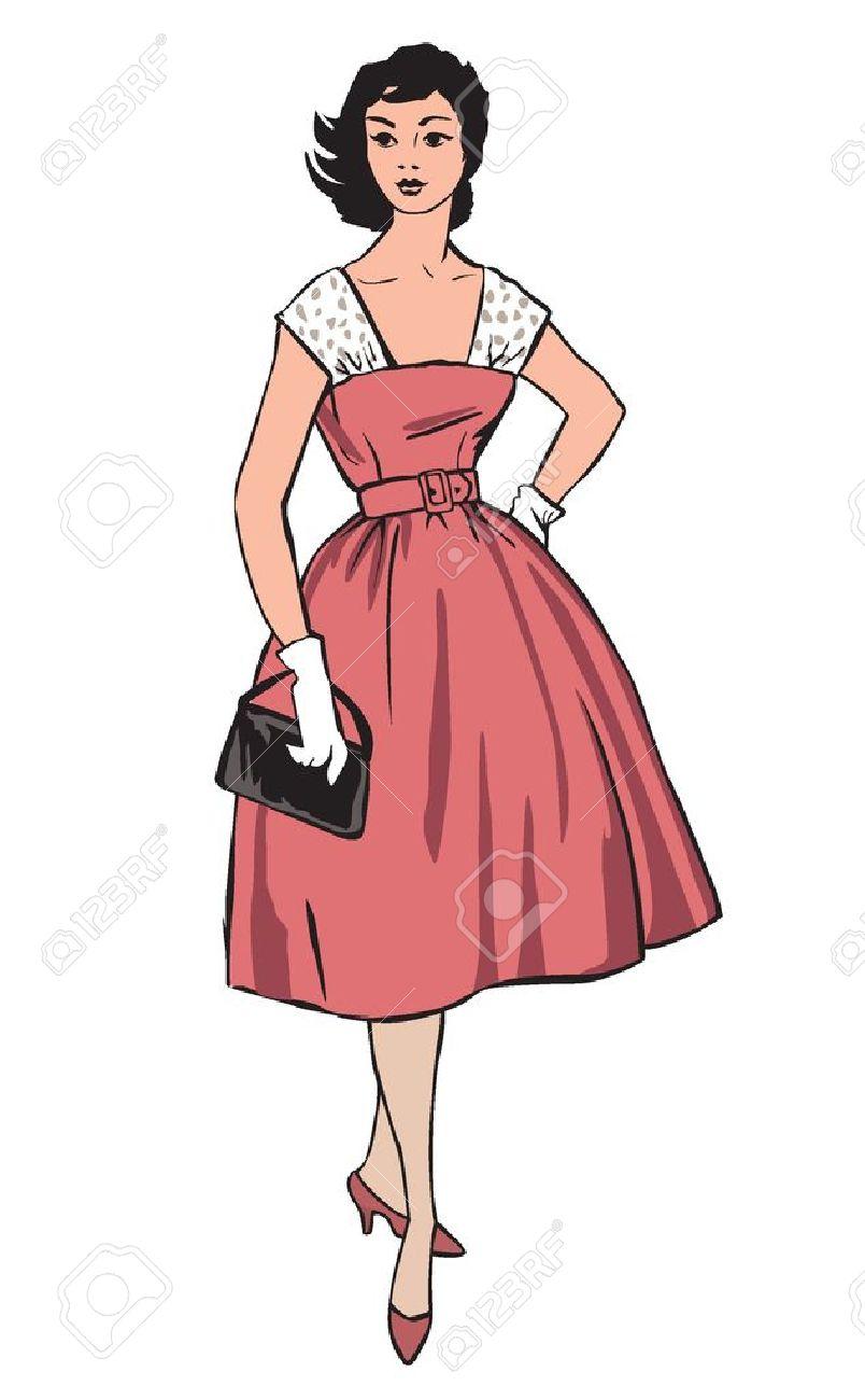 Moda Elegante Vestido Niñas 1950 S 1960 S Estilo Retro Siluetas De ...