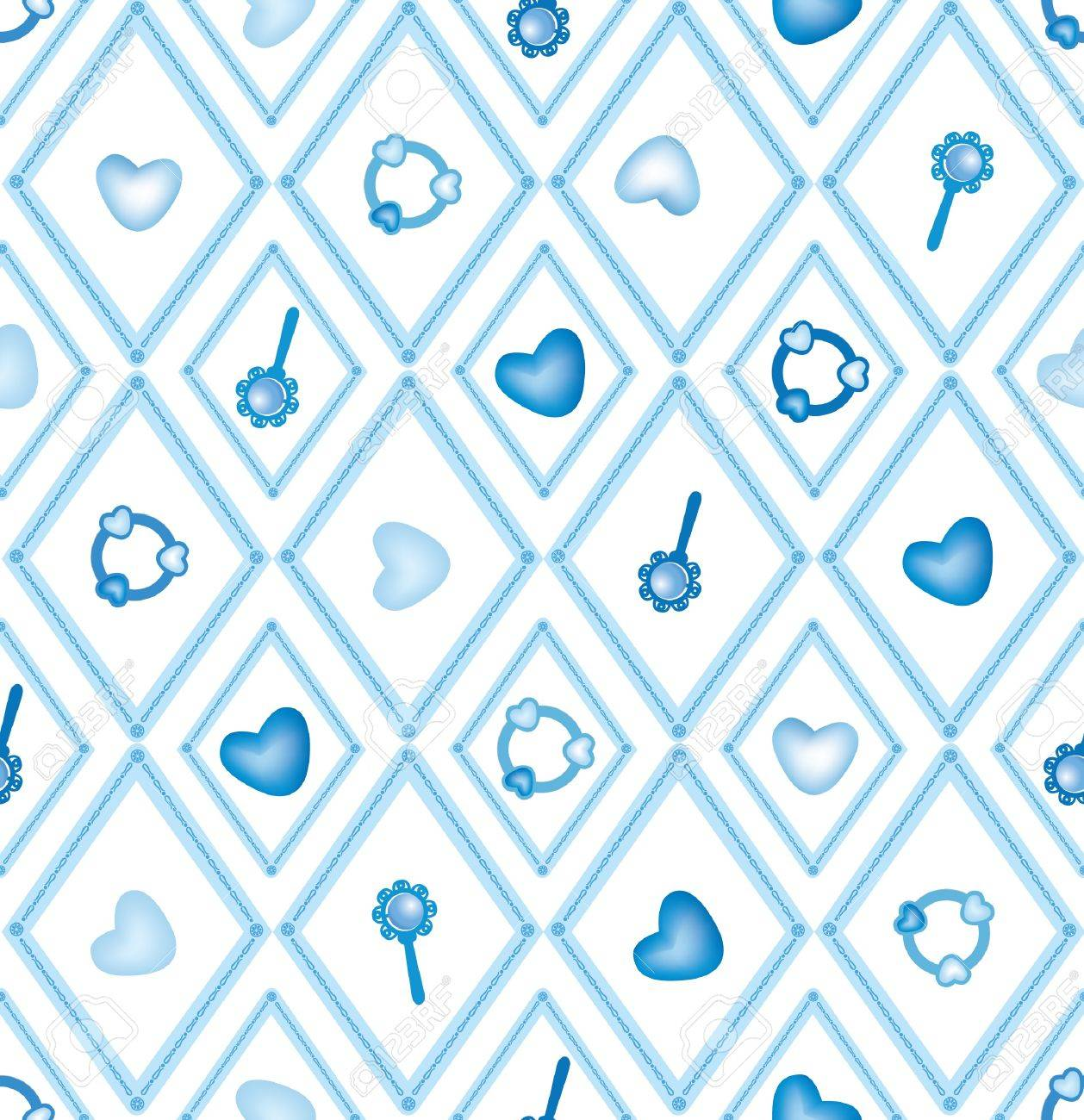seamless baby pattern with hearts, rattle and toys Stock Vector - 16509908