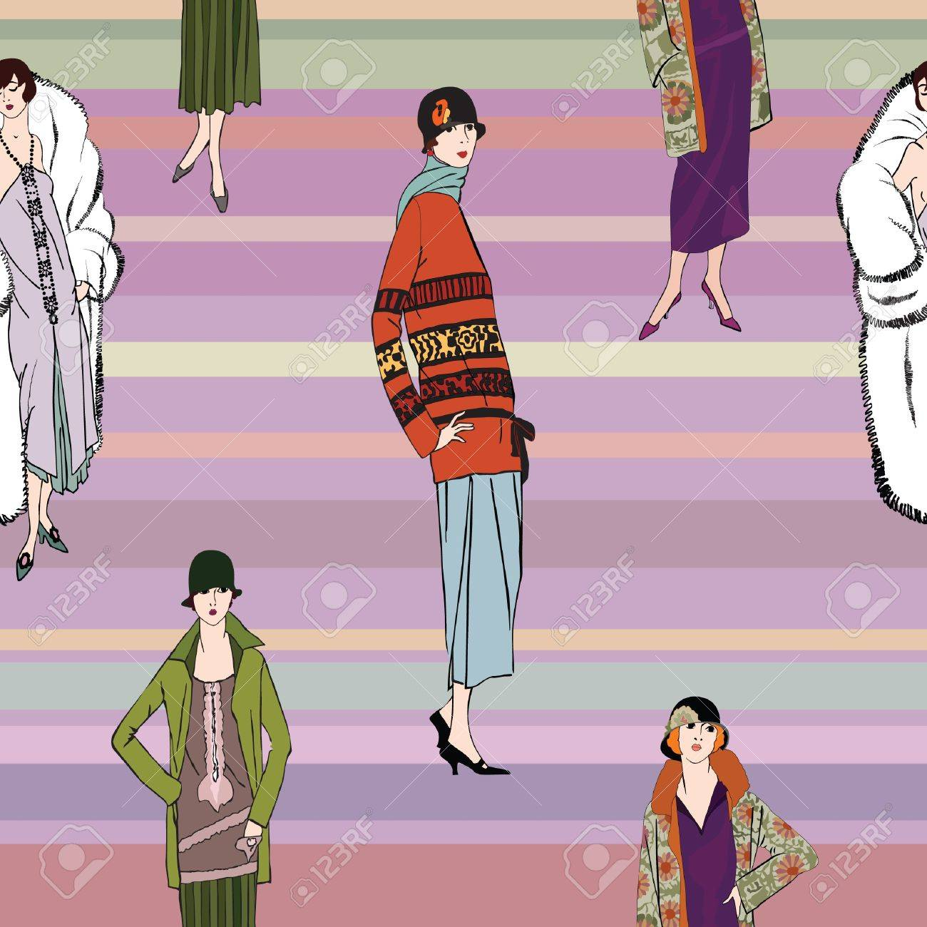 Flapper girls  20 s style  seamless pattern  Retro fashion party background Stock Vector - 16510293