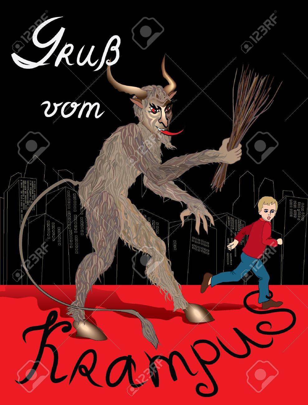 Austrian Krampus Christmas card Stock Vector - 16875571