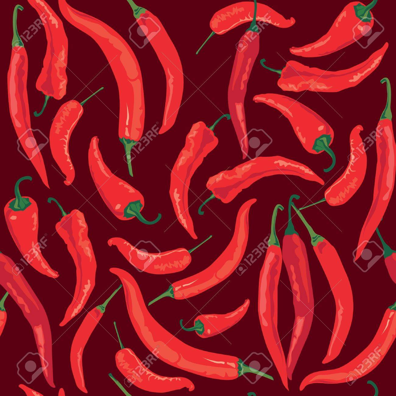seamless pattern with hot Chile pepper on brown background Stock Vector - 17237946