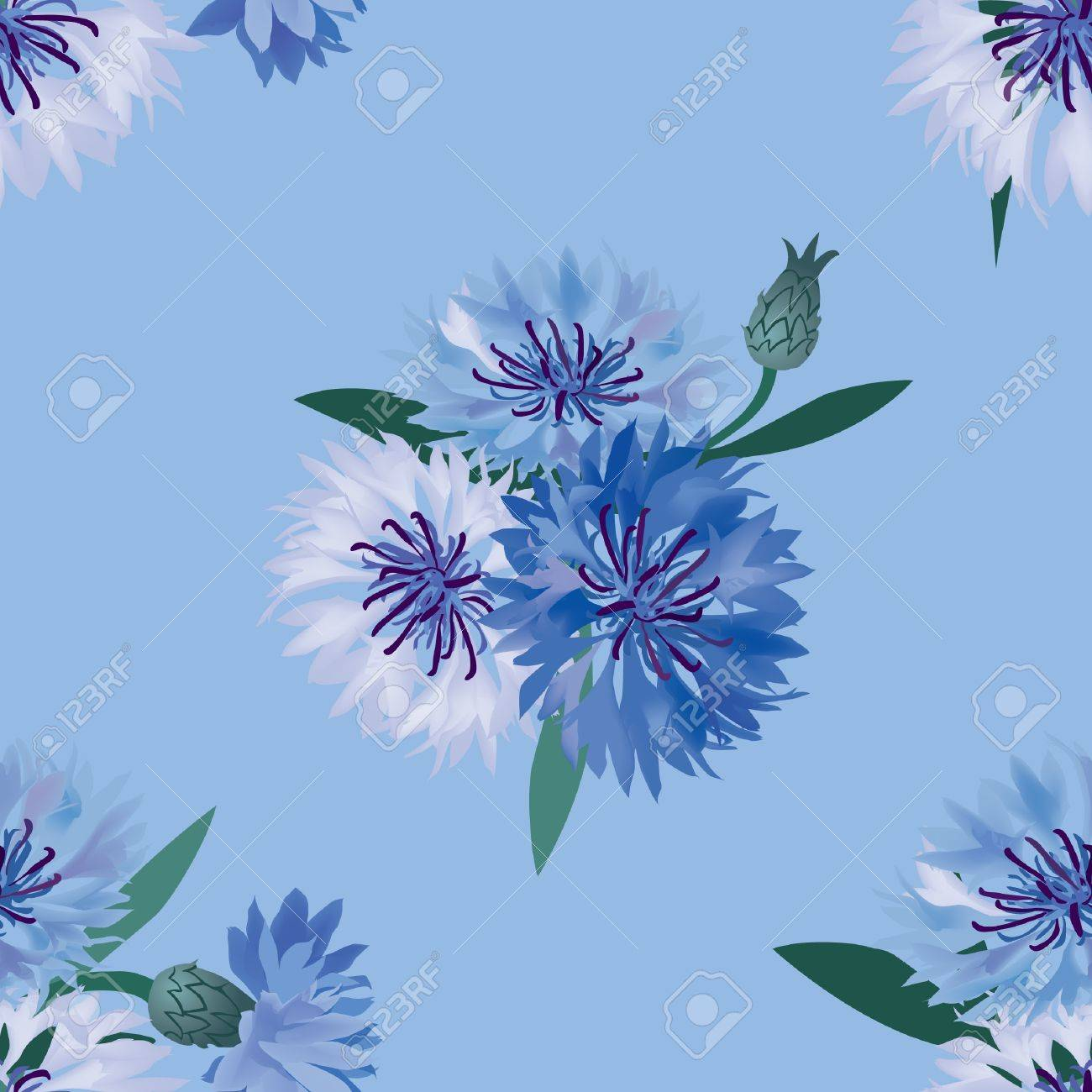 seamless pattern with bouquets  cornflower background Stock Vector - 17221525