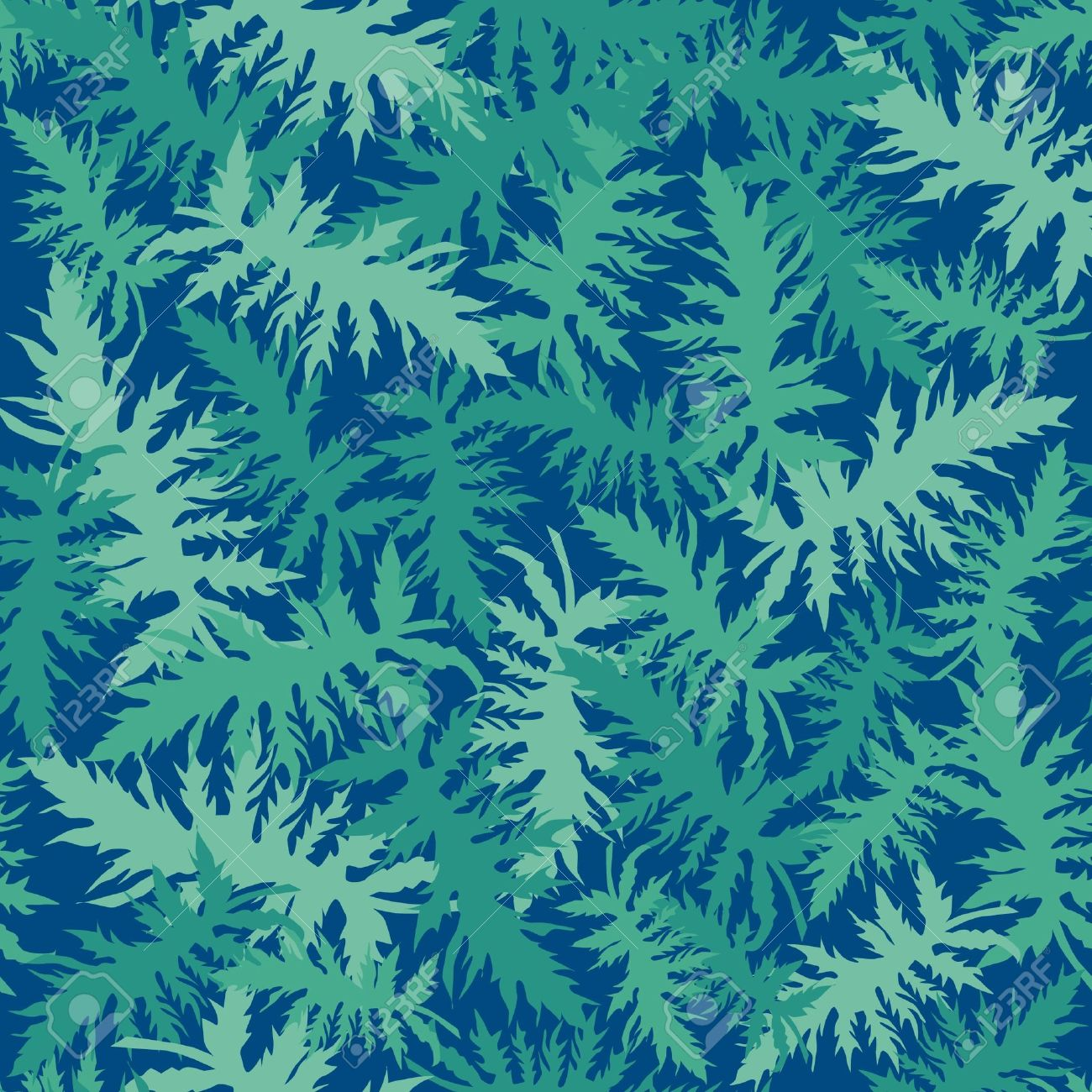 leaf seamless pattern with plant motif, fern leaves on dark blue background Stock Vector - 17260156