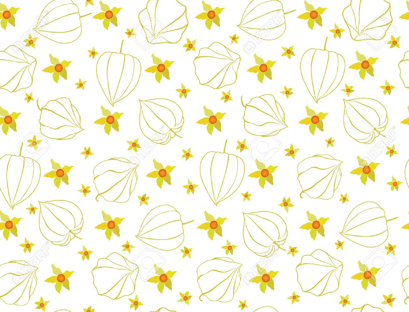 Abstract autumn floral ornamental seamless pattern with winter cherry Stock Vector - 17279143
