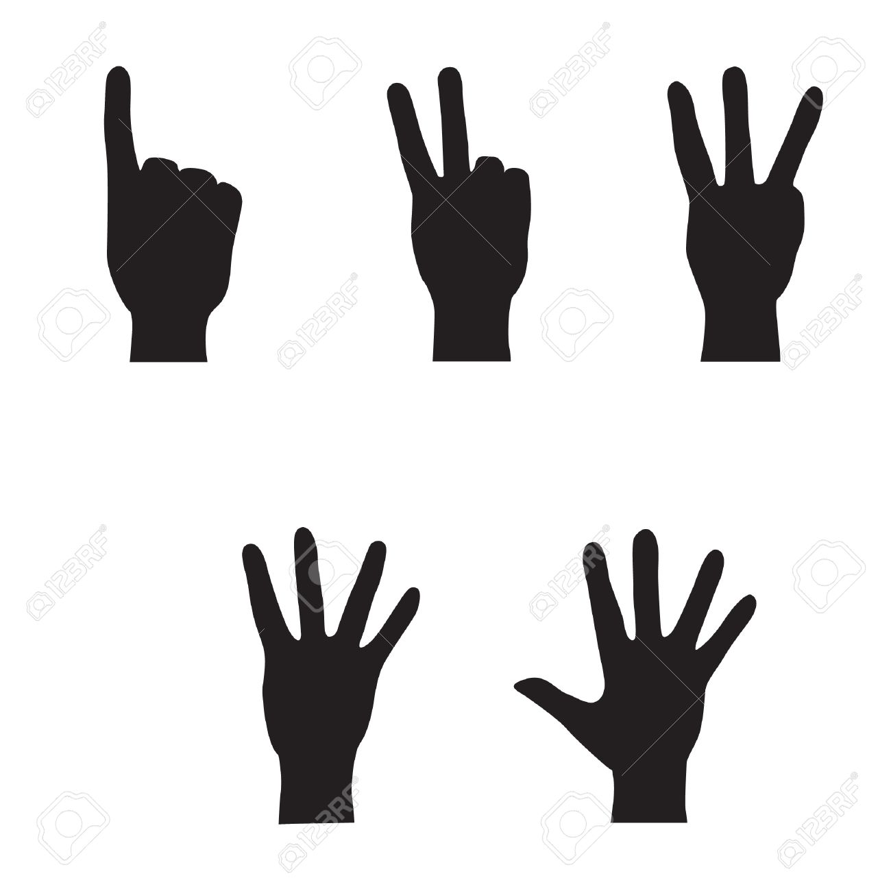 Hands - finger count collection  Vector gestures icons  Computer icon set Stock Vector - 17279135
