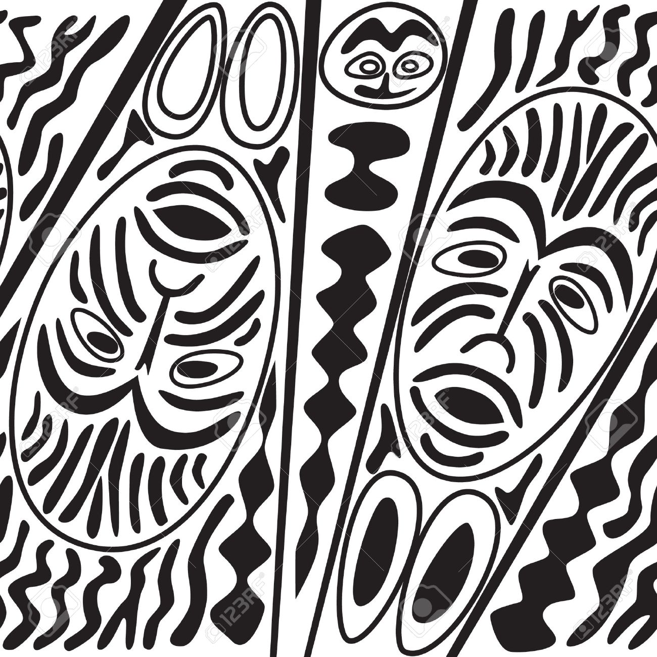 African seamless black and white pattern border with masks in ethnic theme stock vector 17280083